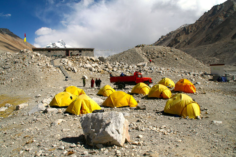 At Everest Base Camp in Tibet