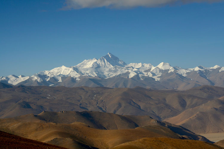 A majestic View of Mount Everest from Tingri Town