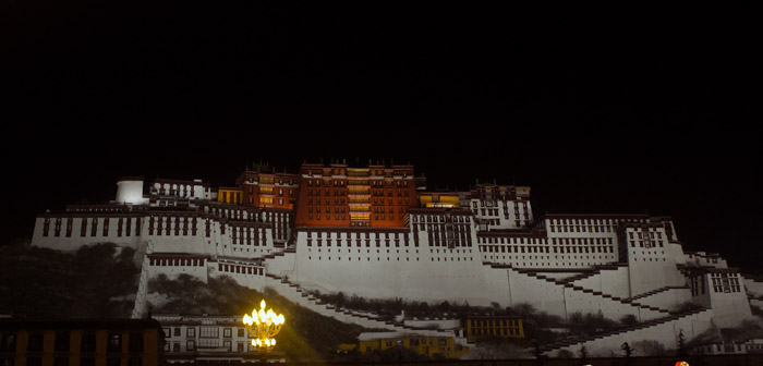 Night view of Potala Palace in Lhasa