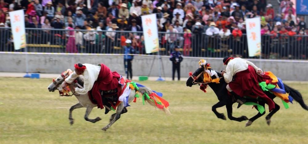 Horseback stun performance